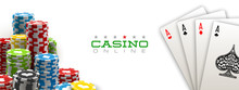 Illustration Online Web Casino Banner With American Poker Playing Cards Isolated On White Background. Marketing Luxury White Banner Poker Playing Card. Advertising Poster Set Online Web Casino Jackpot
