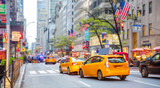 New York, streets. High buildings, cars and cabs