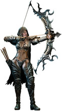 Fantasy Archer Aiming Bow 3D Illustration