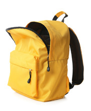 Empty Open School Backpack On White Background