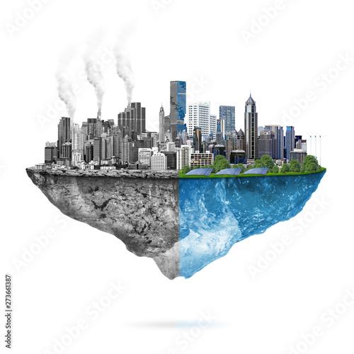 Fototapeta Green ecology vs. pollution obraz
