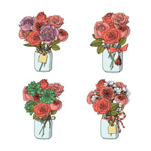 Hand Drawn Doodle Style Bouquets Of Different Flowers: Rose,stock Flower,peony,succulents.