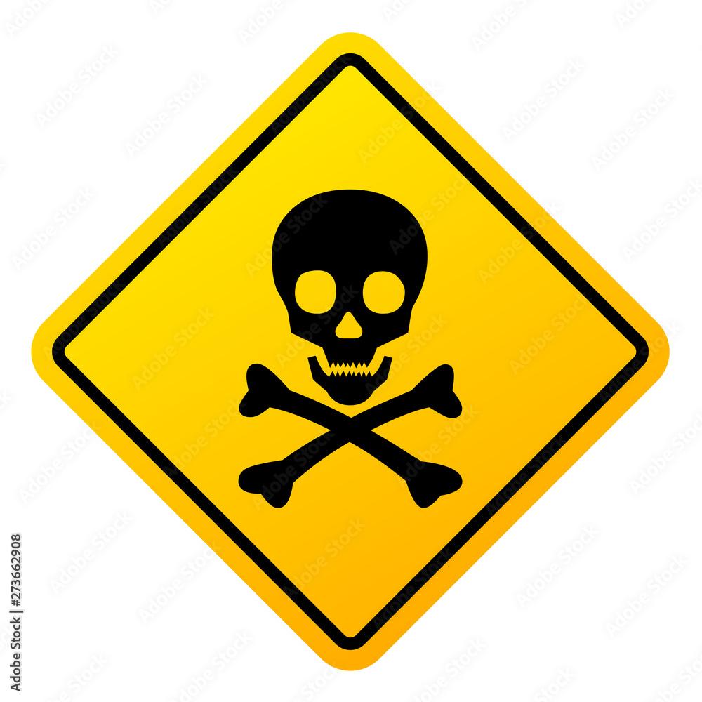 Fototapeta Abstract danger sign with skull illustration