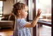 canvas print picture - A toddler girl standing by window indoors at home, looking out.