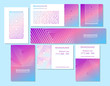 Vector set of business cards, flayers, banners with abstract geometric line pattern background for business brochure cover design. Pink, blue vector banner poster template.