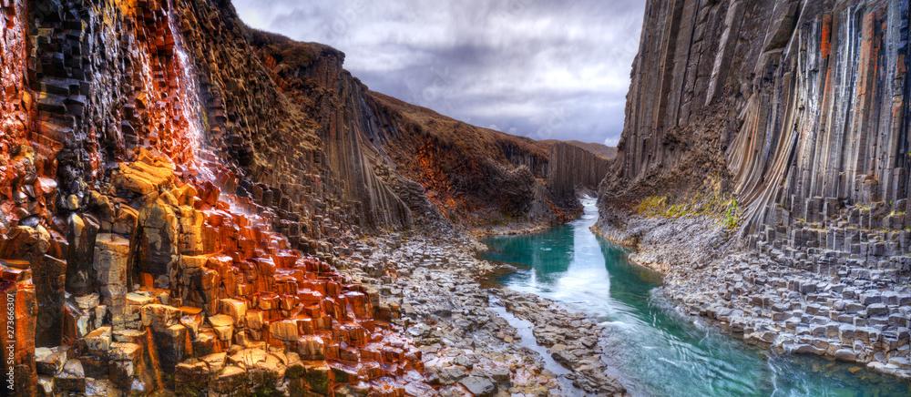 Fototapety, obrazy: Studlagil basalt canyon, Iceland