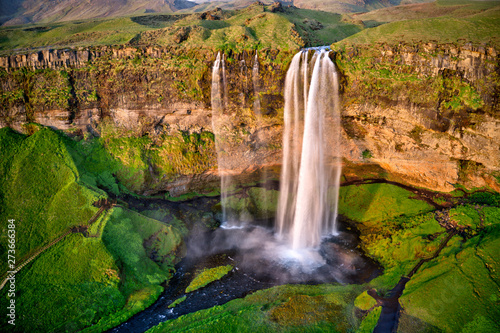 Seljalandfoss from aerial view, Iceland