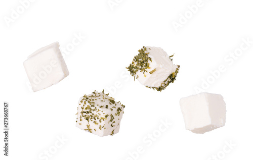 Fototapeta Feta cheese cubes on white background obraz