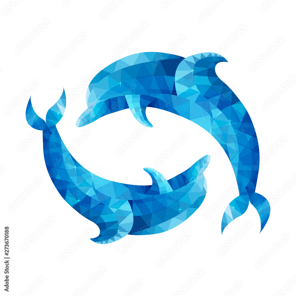 Conceptual polygonal Dolphin. abstract vector illustration of low poly style. stylized design element. poster design, covers, brochures. logotype. Marine style. Geometry.