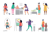 Female Hobbies Vector. Artist, Singer, Potter Woman Characters Vector Illustrations. Craft Hobby, Painter And Sculptor, Woman Cook Cake