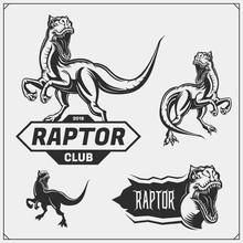 Raptor Dinosaur Mascot. Raptor Emblems And Logos For Sport-club. Print Design For T-shirt.