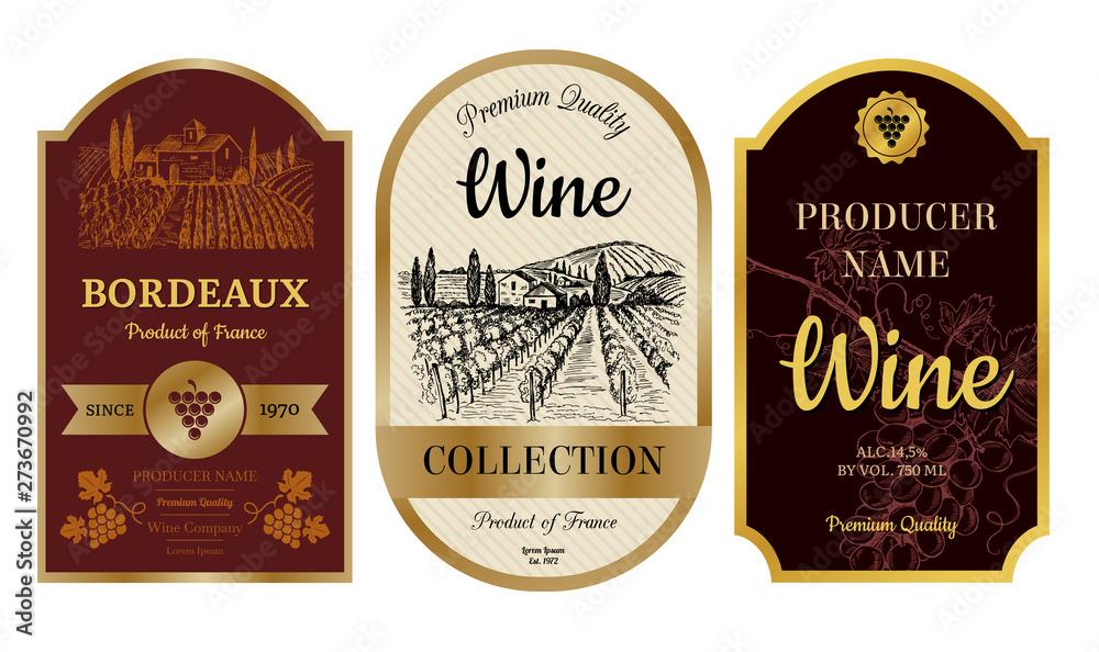 Fototapeta Vintage wine labels. Alcohol badges with pictures of vineyard chateau village bordeaux labels vector collection. Illustration of badge banner and emblem, wine drink sticker