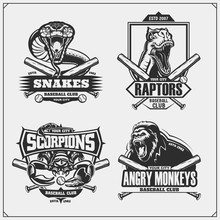 Baseball Badges, Labels And Design Elements. Sport Club Emblems With Gorilla, Cobra, Raptor Dinosaur And Scorpion. Print Design For T-shirt.