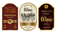 Vintage Wine Labels. Alcohol Badges With Pictures Of Vineyard Chateau Village Bordeaux Labels Vector Collection. Illustration Of Badge Banner And Emblem, Wine Drink Sticker
