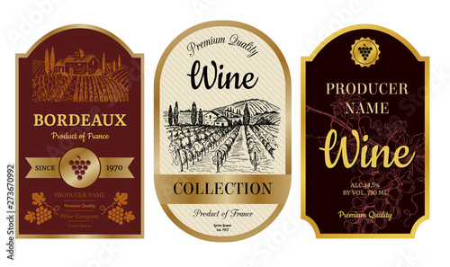 Vintage wine labels Fototapeta