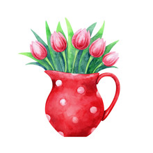 Hand Painted Watercolor Illustration Of A Red Jug With Tulips Isolated On White Background