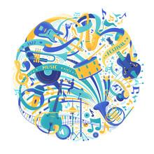 Musical Instruments Store Assortment Flat Vector Illustration