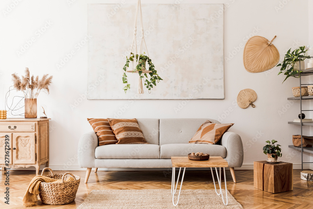 Fototapety, obrazy: The stylish boho compostion at living room interior with design gray sofa, wooden coffee table, commode and elegant personal accessories. Honey yellow pillow and plaid. Cozy apartment. Home decor