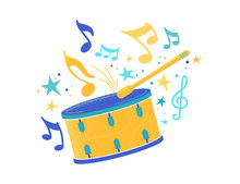 Drum And Stick Flat Vector Illustration