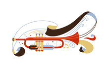Trumpet Flat Vector Illustration