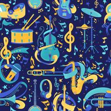Musical Instruments Flat Vector Seamless Pattern