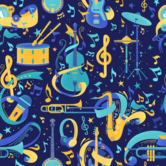 Musical instruments flat vector seamless pattern