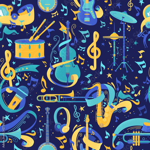 musical-instruments-flat-vector-seamless-pattern