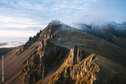 Mountains at Stokksnes Beach in Iceland during Sunset