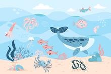 Sea Inhabitants. Octopus, Whal...