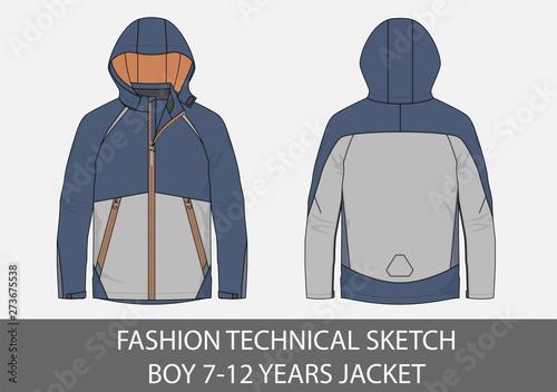 Fashion technical sketch boy 7-12 jacket