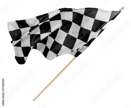 Black white race chequered or checkered flag with wooden stick isolated background. motorsport racing symbol concept Wall mural