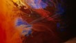 Abstract colorful dye mixing in water. Blue and orange inks interfusion. Motion and animation effect
