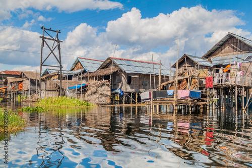 Stilt houses of Inn Paw Khone village at Inle lake, Myanmar - 273682160