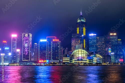 Poster 香港 ビクトリアハーバー 夜景 曇天