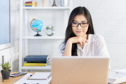 Education study abroad,Asian student girl with glasses look at