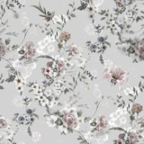 Watercolor painting of leaf and flowers, seamless pattern on gray background - 273687304