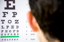 Check Visual Acuity Or Ophthalmologist Or Optometrist Visit Concept Photo. Table For Testing Visual Acuity In Background In Focus And Blurred Defocused Silhouette Of Human Head In The Foreground