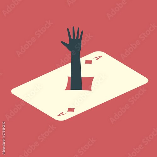 Human hand sticking out of the ace of diamonds card