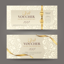 Set Of Luxury Gift Vouchers With Golden Ribbons, Bow And Vintage Floral Pattern. Vector Elegant Template For Gift Cards, Coupons And Certificates With Beige Ornament. Isolated From Background.