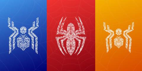 Spiders symbols, grunge spider logo banner, poster design.