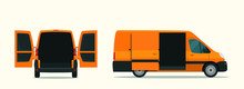 Сargo Van With Open Cargo Door. Vector Flat Style Illustration.
