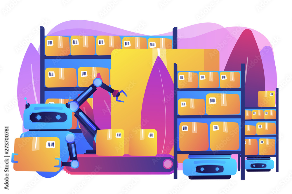 Fototapety, obrazy: Storehouse automatic packages loading technology. Warehousing robotization, warehouse robotics engineering, self-driving forklifts concept. Bright vibrant violet vector isolated illustration