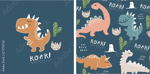 fototapeta na drzwi i meble set of cute dinosaur print and seamless pattern with dinosaurs. vector illustration