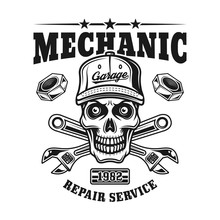 Mechanic Skull Vector Emblem F...