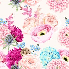 Seamless Pattern With Pink And White Flowers