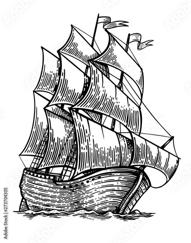 Poster Schip Black and white sketch of sailing old ship