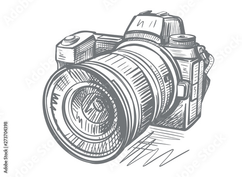 Fotografering Modern camera in doodle style. Gray hand drawn