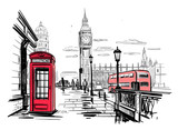 Fototapeta Big Ben - hand drawn landscape of London city