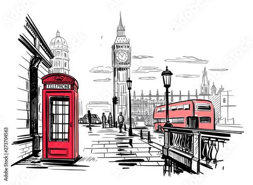 Photo hand drawn landscape of London city