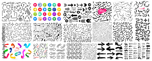 Obraz Mega Set of Arrows. Black and colorful signs. Flat web icons. Vector illustration isolated on white background. - fototapety do salonu
